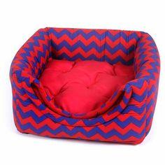 Cama para Cães Toca Luxo Vermelha e Azul Camanimal - MeuAmigoPet