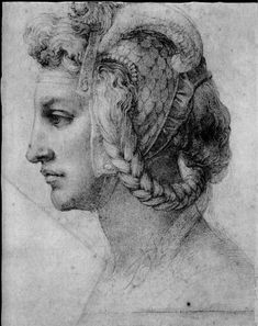Ideal head of a woman by Michelangelo, drawing in black chalk about Now in The British Museum in London England. Find a Michelangelo fine art print. Michael Angelo, Renaissance Kunst, Italian Renaissance Art, High Renaissance, Chalk Drawings, Art Drawings, Figure Drawing, Painting & Drawing, Art Ninja