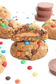 Peanut Butter Cup Stuffed Monster Cookies