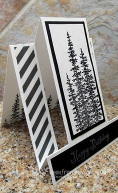 Stamp & Scrap with Frenchie: Masculine Step Card Black and White