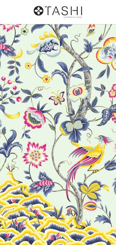 Jacobean Glamour, is an exquisite design with intricate details and vibrant colors with a number of carefully selected base color options. Textile Patterns, Textile Prints, Print Patterns, Jacobean, Pattern Illustration, Dali, Repeating Patterns, Arabesque, Surface Design