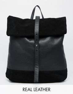 Image 1 of ASOS Suede And Leather Roll Top Backpack