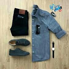 تنسيق ملابس ✔️👌👌🌷🍃 Denim Button Up, Button Up Shirts, Mens Fashion, Fashion Menswear, Style Fashion, Sweatpants, Style Inspiration, Casual, Outfits