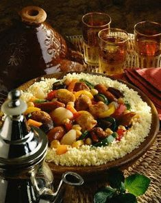 THE VIEW FROM FEZ: Moroccan couscous - the traditional way Middle East Food, Middle Eastern Recipes, Couscous Royal, Moroccan Couscous, Morrocan Food, Homemade Chicken Stock, Arabic Food, International Recipes, Chefs