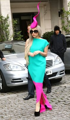 Lady Gaga leaving her London hotel wearing a pink headpiece on November 16th, 2011.