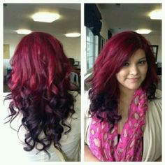 Reverse Ombre Red To Black Fade Hair Hair Fashion Hair