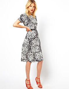 ASOS Midi Dress In Animal Print