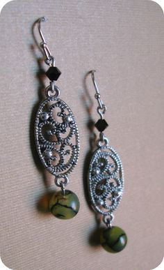 Silver Filigree Dangle Earrings With Dragon Blood by madelinabella, $6.50