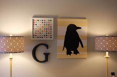 Love the lamp shades and the penguin pic.