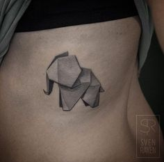 Best Animal Tattoo Designs - 3D origami elephant by Sven Rayen