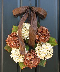 Fall Hydrangeas, Wreaths, Hydrangea Wreath, Wreaths for All Seasons, Autumn Decorations. $70.00, via Etsy.
