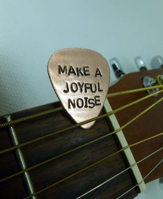 Gift ideas: Hand Stamped Copper Guitar Pick - Make A Joyful Noise - Personalized - Mens - Womens. $11.00, via Etsy.