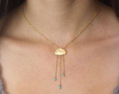 Rain cloud necklace English Rain. Gold cloud by GojoDesign