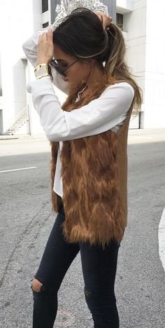 #fall #outfits ·  Fur Jacket + Ripped Jeans + White Shirt