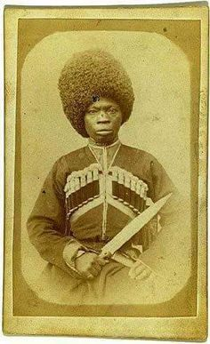Possibly the original people of Russia. This is an Autochthonous Abkhazian Tribesman -1870. This is his real hair..the British guards which we see today copied the hair .