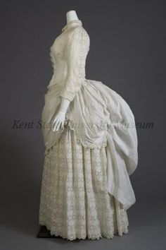 White cotton and eyelet summer dress, late 1880s. Collection of the Kent State University Museum, 1983.1.162)