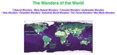7 Wonders of the World. Natural Wonders, Man Made Wonders, Ancient Wonders, New WondersUnderwater Wonders New Wonders Forgotten Wonders Wonders of Industrial World Ten Travel Wonders Wonder Man, Natural Wonders, Wonders Of The World, Back To School, Nature, Naturaleza, Entering School, Nature Illustration, Back To College