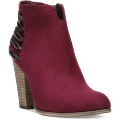 Carlos by Carlos Santana Hawkins Embellished Block-Heel Booties ($79) ❤ liked on Polyvore featuring shoes, boots, ankle booties, malbec, western boots, western booties, cowboy ankle booties, cowboy booties and strappy boots