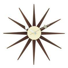 Mid-Century Modern Reproduction Sunburst Clock - Walnut Inspired by George Nelson
