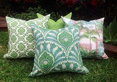 Green Outdoor Cushions, Outdoor Pillows Tropical Cushions, Cushion Cover Green Outdoor Pillows Alfresco Cushions Tropical Pillows by MyBeachsideStyle on Etsy Outdoor Cushions, Outdoor Fabric, Modern Cushions, Down Pillows, Throw Pillows, Pillow Forms, Outdoor Settings, Decorative Pillow Covers, Outdoor Rooms
