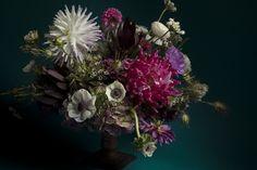 Rosegolden Flowers / dahlias, anemones, nigella pods, leucadendron, wax flower, hydrangea, etc / Holly Carlisle, via Flickr