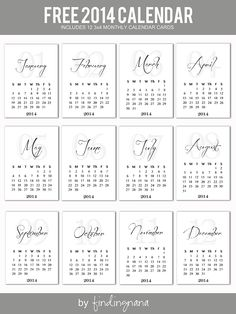 Free 2014 Monthly Calendar Cards #projectlife