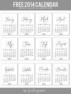 Printable -- 2014 Calendar Cards
