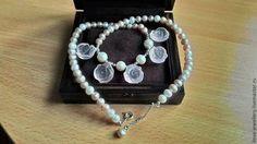 """""""Элена"""" - нежное жемчужное ожерелье с резным розовым кварцем - розовый"""