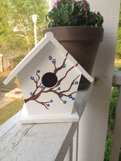 handpainted bird house by jcgray1 on Etsy, $15.00