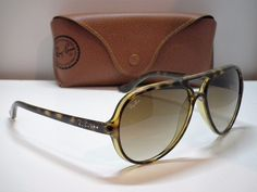 Authentic Ray-Ban RB 4125 CATS5000 710/51 Tortoise/Brown Aviator Sunglasses-$210