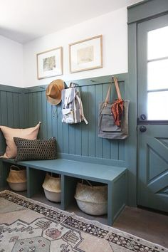Evergreen House: Mudroom Reveal (and Our Favorite Moody Paint Colors!) - Juniper Home Ideas Cabaña, Room Ideas, Decor Ideas, Evergreen House, Casa Top, Mudroom Laundry Room, Bench Mudroom, Laundry Room Colors, Fresh Farmhouse