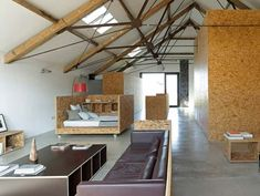 Mid Century House Design as Comfortable Place: Charming Achre Barn Home Interior With Contemporary Living Room Design With Grey Leather Sofa. Interior Design Living Room, Living Room Designs, Living Rooms, Summer House Interiors, Modern Barn, Loft, Mid Century House, Interior Architecture, Furniture