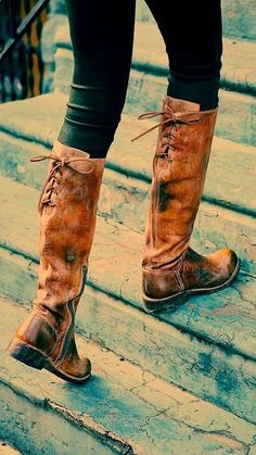 Fall Brown Leather Back Lace Long Boots ~~ Love them!!