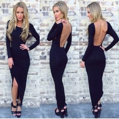 Fashion O Neck Long Sleeves Backless Ruffles Design Asymmetrical Black Polyester Ankle Length Dress