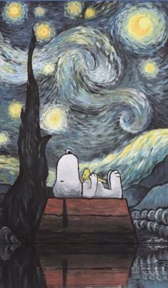 Snoopy Watching Starry, Starry Night painting.