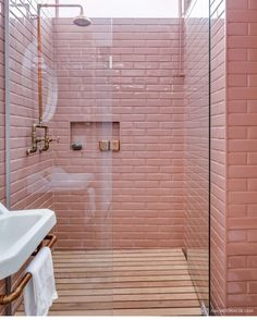 Pink tile shower