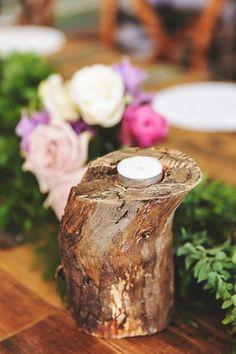 photo: Calli B Photography; chic rustic wedding reception centerpiece decor