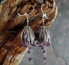 Purple flower earrings beaded flower earrings by thepinkmartini, $22.00