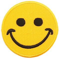 Smiley Face Yellow Embroidered Iron-On Patch ($5) ❤ liked on Polyvore featuring accessories and hollywood mirror