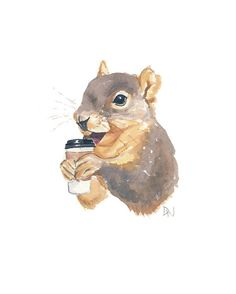 Squirrel Painting Original Watercolour  Animal by WaterInMyPaint, $40.00