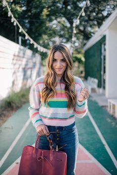 Gal Meets Glam Winter Brights -Striped sweater, J.Crew jeans, Mansur Gavriel bag & ZanZan sunglasses