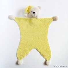 Honey Teddy Bear lovey Knitting pattern by Ana Valen Animal Knitting Patterns, Baby Patterns, Doll Patterns, Baby Lovey, Lovey Blanket, Cross Stitch Fabric, Baby Comforter, Paintbox Yarn, Red Heart Yarn