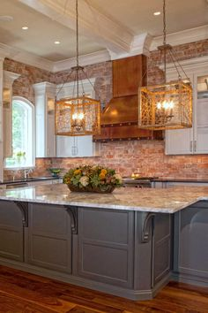 The copper oven hood is the main focal point with the beautiful brick backsplash as the backdrop. The copper oven hood is the main focal point with the beautiful brick backsplash as the backdrop. Eat In Kitchen, Kitchen Redo, Rustic Kitchen, Country Kitchen, Kitchen Remodel, Kitchen Dining, Kitchen With Brick, Kitchen Oven, Copper Kitchen