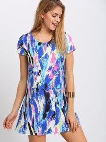 summer dress, trendy colorful dress, multicolor print dress, short sleeve shift dress - Lyfie