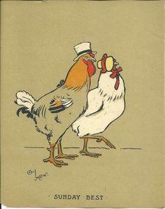 Cecil Aldin 1915 Original Antique Chickens Farmyard Print Art Rare Matted