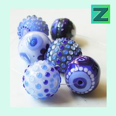 The Good Dishes  6 beads  lampwork by Sarah Moran par zbeads