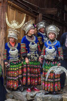 Long skirt Miao dancers, Guizhou Province, China - Jim Zuckerman Photography