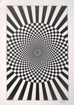Optical Illusion Geometric Shapes Black and di mysunshinevintage