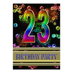 23rd Birthday party Invitation with bubbles