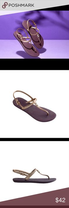 Havaianas NWT gold freedom glamour sandal crystal gold straps with Swarovski crystal embellishments, purple sole  Swarovski embellishments on our Freedom Glamour sandal take you from the beach to a night on the town. Featuring a closed adjustable T-strap and our signature textured footbed for comfort. The sizes are flexible. they come in between sizes . For eg for size 6 the size is 5/6 , for size 8 its 7/8... etc   T-strap style with a comfortable slingback for a secure fit Cushioned…